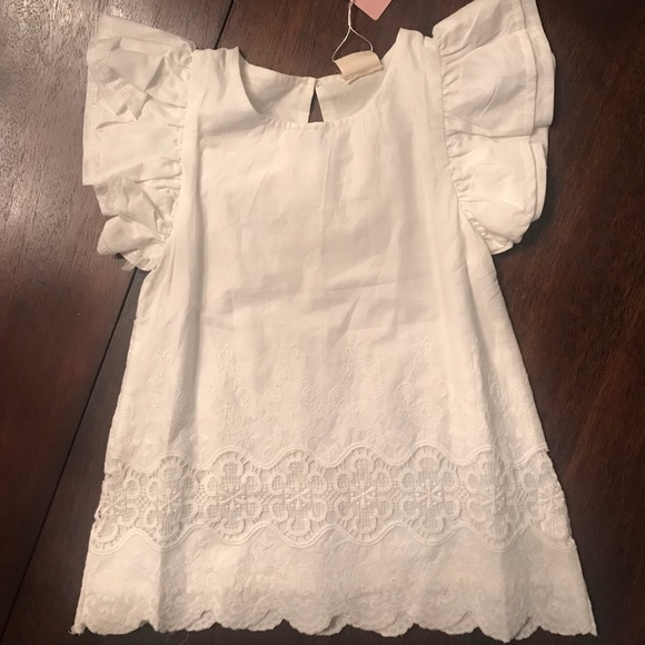 b81c2e7739ebc7 Boutique White Butterfly Sleeve Top - Size 4T
